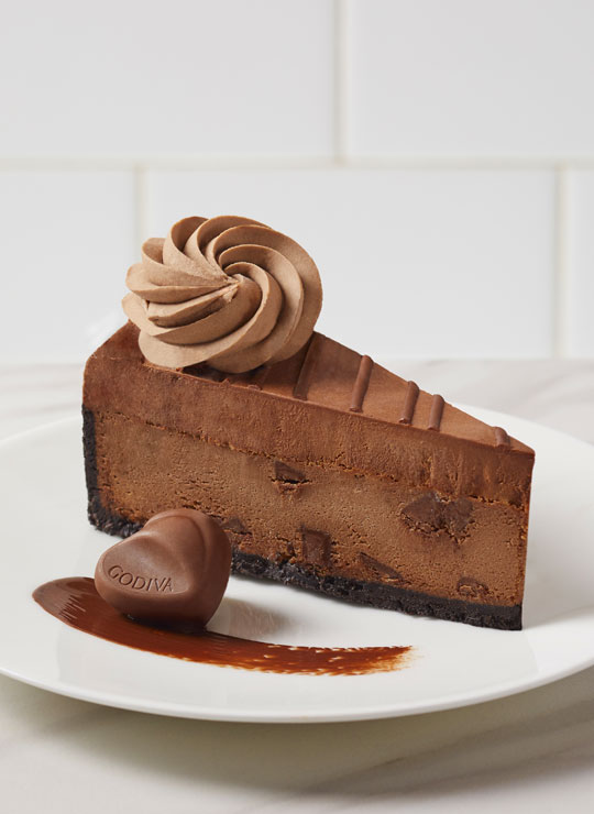 A slice of the Godiva Double Chocolate Cheesecake