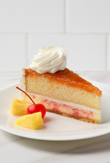 A slice of Pineapple Upside Down Cheesecake