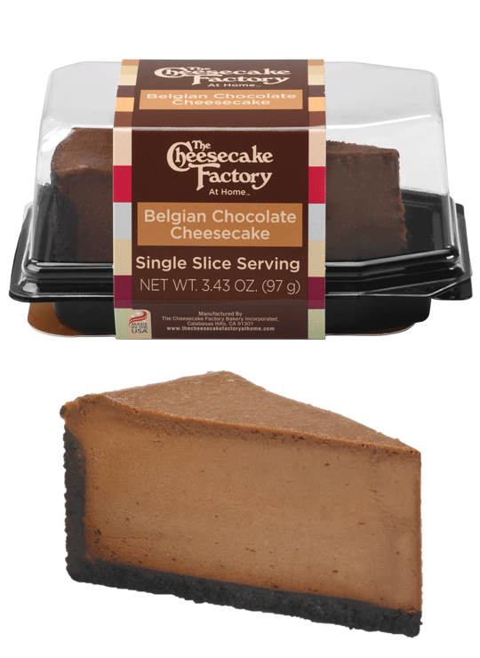 Image of Belgian Chocolate Cheesecake Single Slice In & Out of Packaging