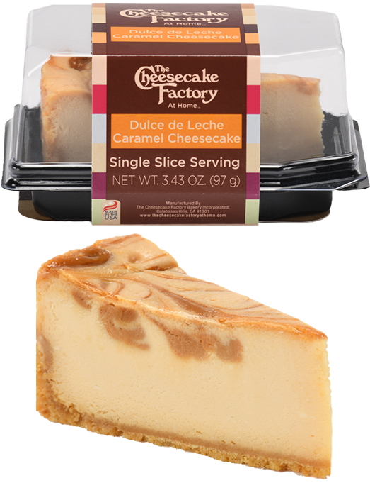 Image of Dulce de Leche Cheesecake Single Slice In & Out of Packaging