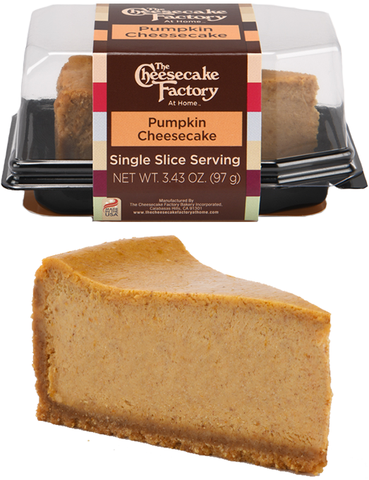 Image of Pumpkin Chocolate Cheesecake Single Slice In & Out of Packaging