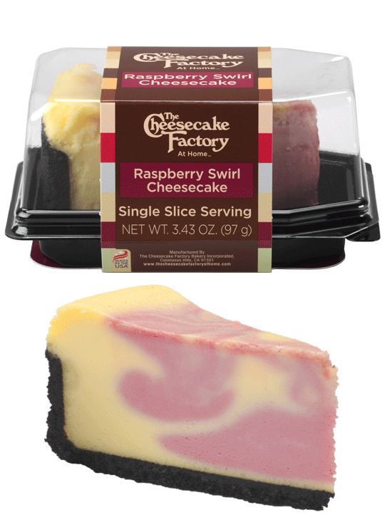 Image of Raspberry Swirl Cheesecake Single Slice In & Out of Packaging