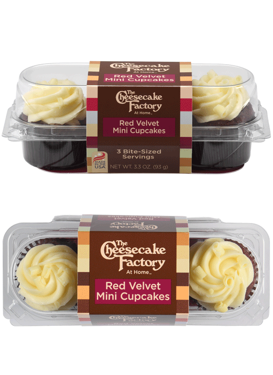 Image of Red Velvet Mini Cupcake 3-Pack from the Side & overhead