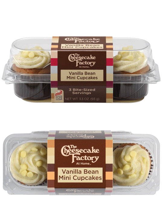 Image of Vanilla Bean Mini Cupcake 3-Pack from the Side & overhead